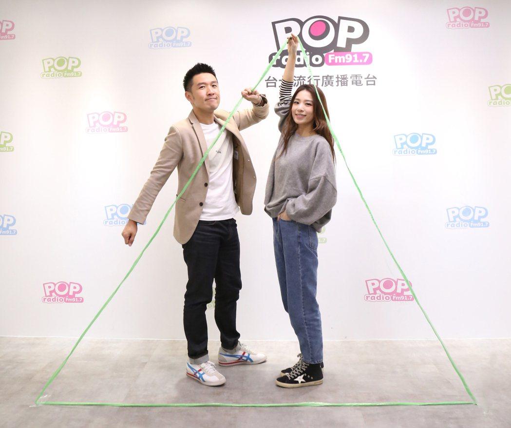 「What's up Music」主持人俊菖(左)邀田馥甄重現新輯封面三角形PO...