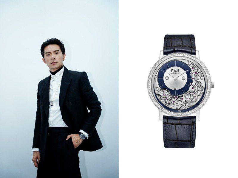 剛拿下金鐘獎戲劇類最佳男主角的姚淳耀戴上PIAGET 910P超薄鑽表,展現自信風采。圖 / PIAGET提供。
