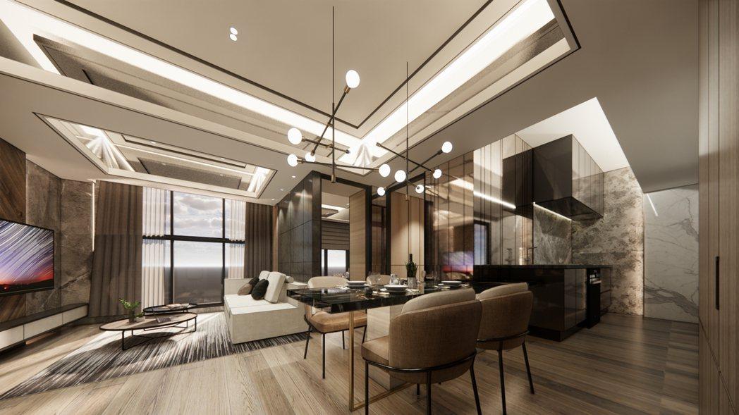 3房格局中,同樣將住宅核心放於餐廳中,寬度預留出4米4,甚至可以規劃出8人餐桌。...