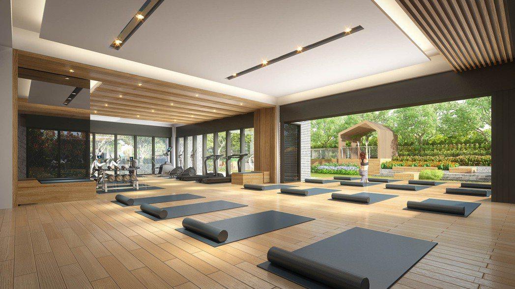 「遠雄青晉」公設瑜珈室連結室外空間3D示意。(圖/業者提供)