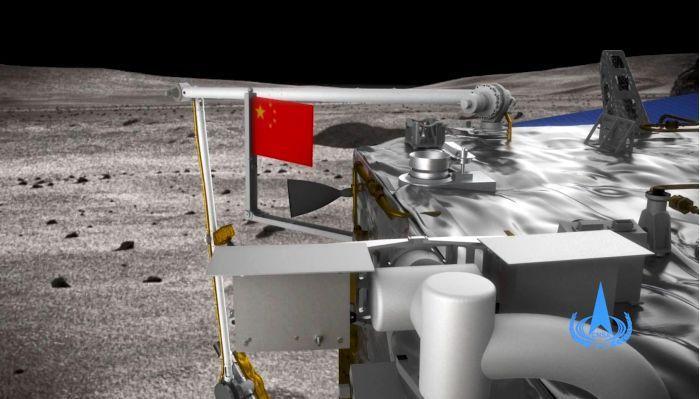大陸首度在月球表面實現五星旗的獨立展示。(取自中國探月與深空探測網)