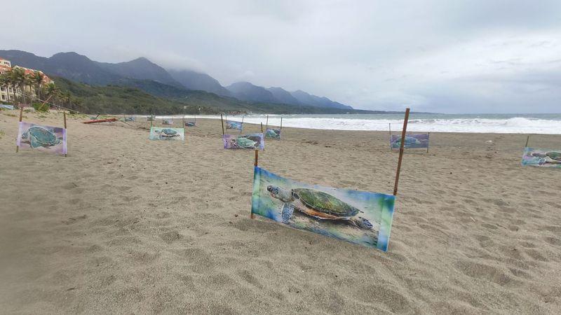有藝術家畫了30隻海龜,佈置在杉原海灣沙灘上,為牠們的環境權發聲。圖/盧姓民眾提供