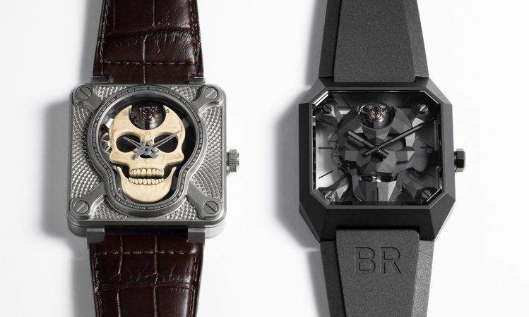 兩代不同的Skull腕表,右邊是2020年的Cyber Skull、左邊Laug...