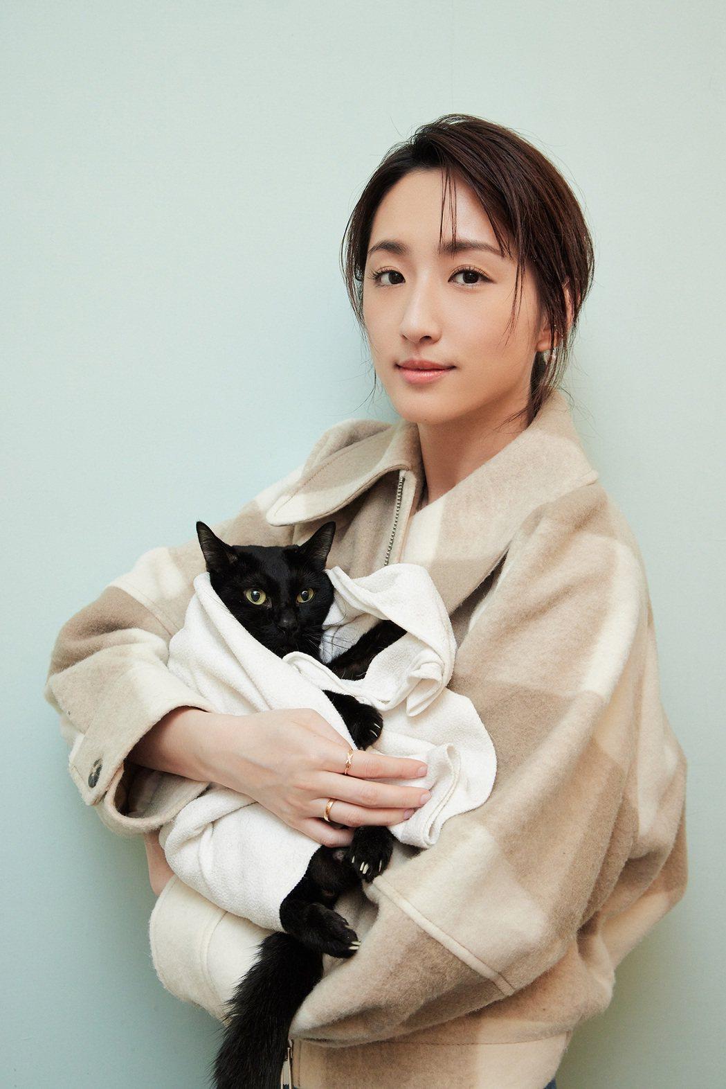 柯佳嬿到諾亞方舟動物同樂協會,探視下半身癱瘓的貓咪「黑嘉麗」。圖/愛最大慈善光協...
