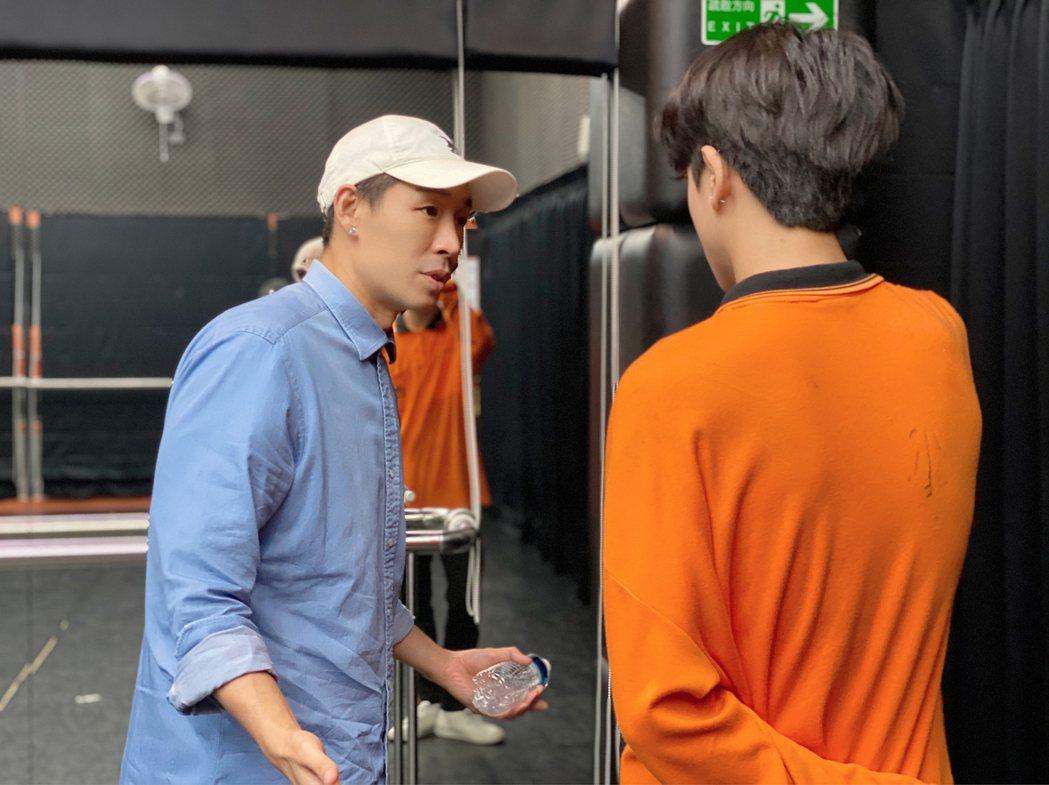 藍鈞天(左)跟同學示範演技。圖/好朋友工作室提供