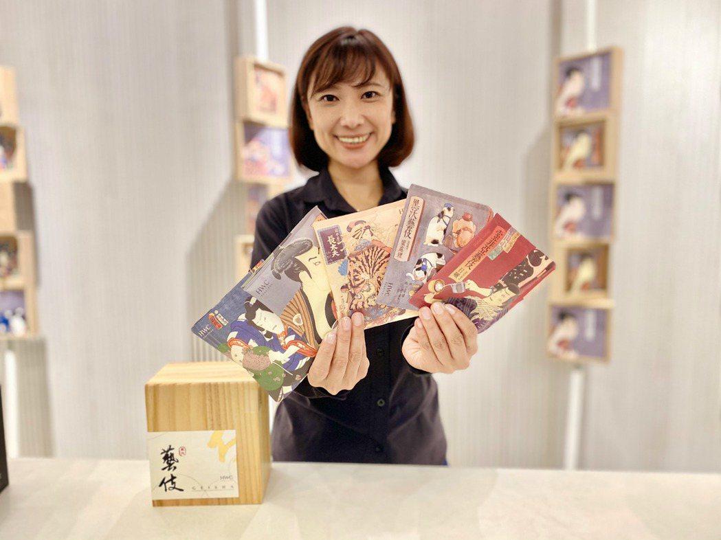 黑沃咖啡創辦人林佩霓展示全球獨創環保材質藝伎濾掛咖啡。記者宋健生/攝影