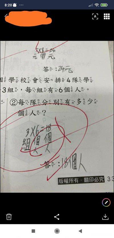 家長抱怨小孩答案寫對,但卻遭老師改錯。 圖/爆怨公社