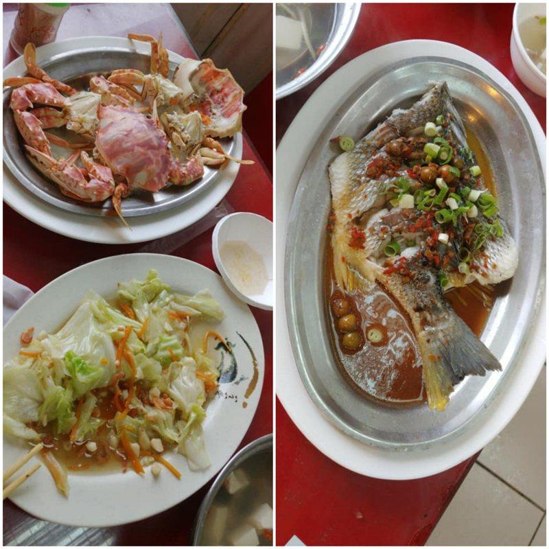 人妻抱怨和老公到新竹南寮漁港吃海產,結果點了兩隻蟹、一條魚、一盤菜和白飯,結帳時被收了2,340元的高價,覺得很不合理。 圖/新竹大小事