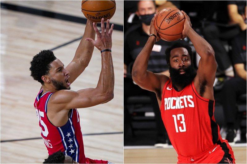 現任球評的前NBA球員柏金斯(Kendrick Perkins)有6成把握,認為下賽季季中會看到西蒙斯(左)與哈登(右)互換交易。 美聯社、法新社