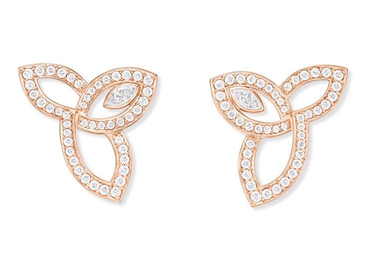 海瑞溫斯頓Lily Cluster系列玫瑰金鑽石耳環,2顆馬眼型切工鑽石及90顆...
