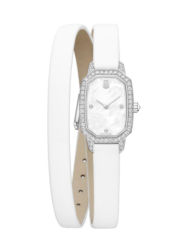 海瑞溫斯頓Emerald系列腕表,18K白金、石英機芯、時間顯示、錶圈、錶冠、錶...