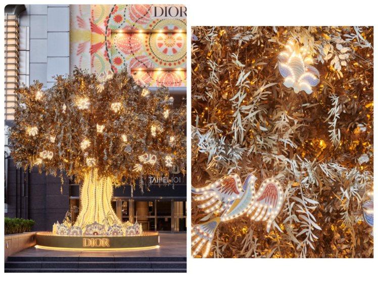 DIOR耶誕樹以「遞上橄欖枝」為主題,象徵災難的結束與和平的到來。圖/DIOR提...