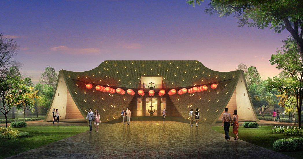 大河里福德祠特殊的「垂降大屋頂造型」,將為台中再添新景點。戴育澤建築師事務所提供