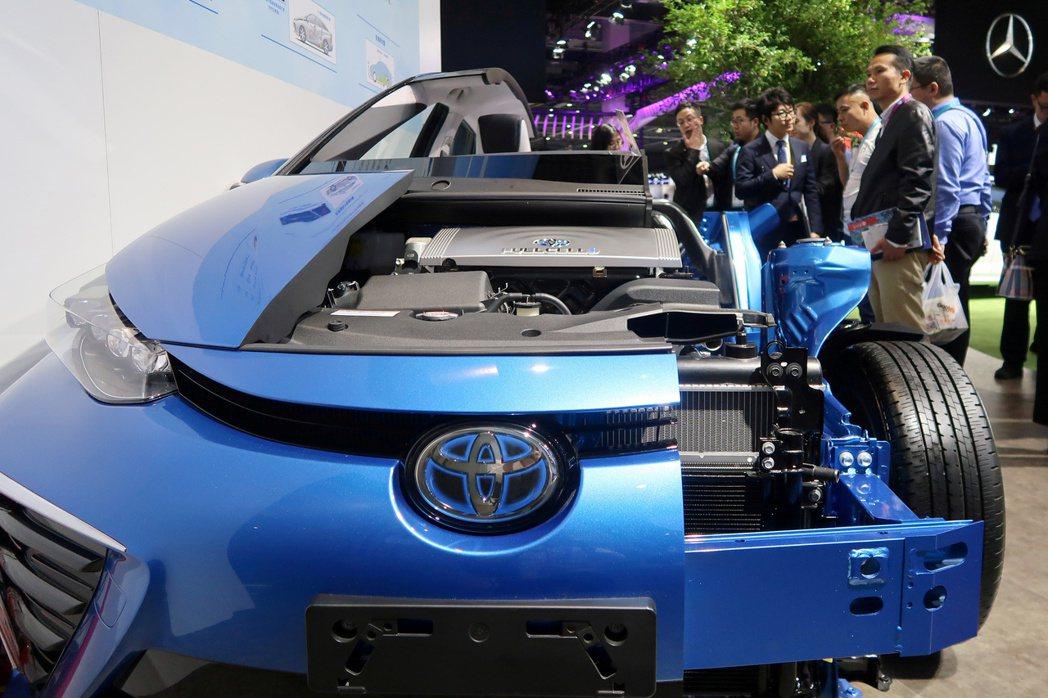 豐田展出Mirai氫燃料電池車。(路透)