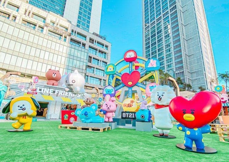 統一時代百貨2F夢廣場「LINE FRIENDS CARNIVAL派對時光」。圖...