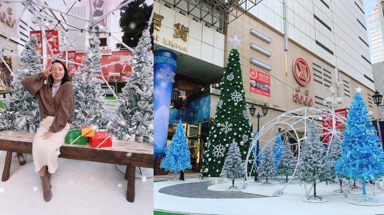 台中廣三SOGO打造「雪花耶誕樹」。圖/廣三SOGO提供