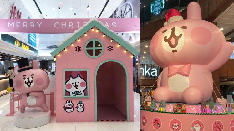中友百貨在1樓打造6.2米高超大型粉紅兔兔氣球。圖/信賴互動提供