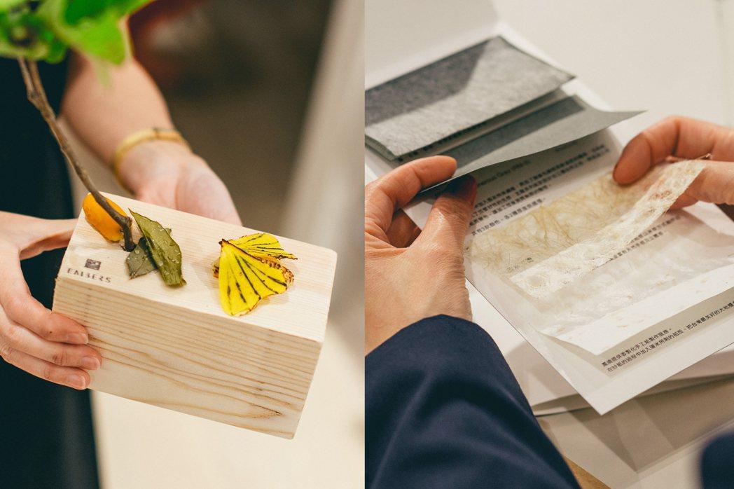 郭庭瑋創意料理作品Tree_Three(左)、李依耘為活動特別設計的紙纖Menu...