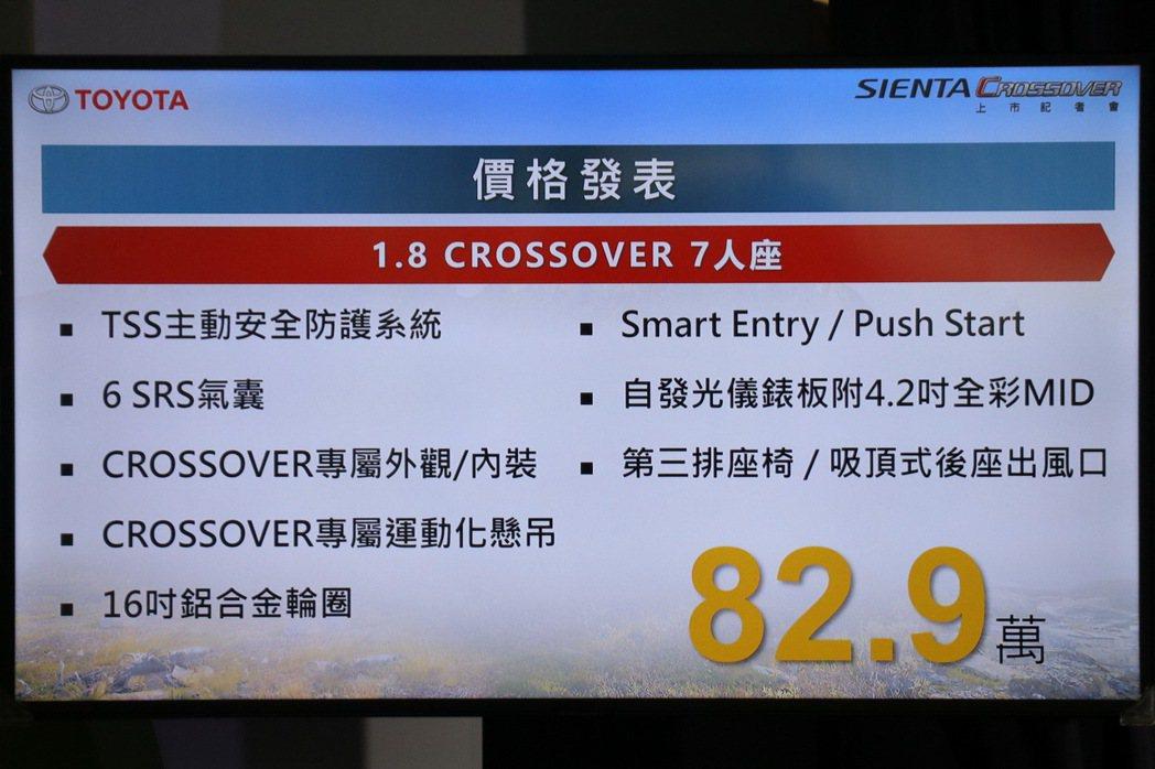 SIENTNA 1.8 CROSSOVER 7人座售價82.9萬。 記者陳威任/...