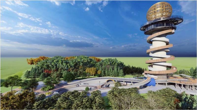 南投縣政府將在名間鄉松柏嶺打造「天空之星」高空景觀塔,設計草圖近期出爐。圖/南投縣政府提供