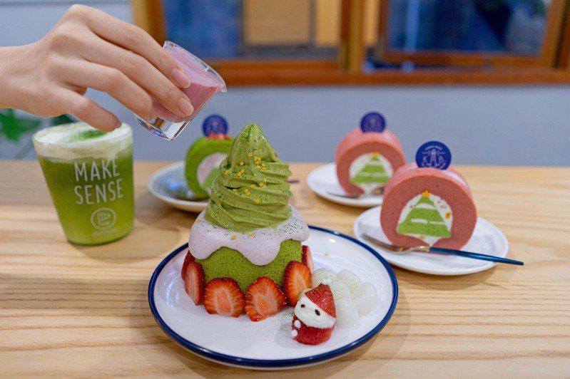 抹茶草莓冰山(中)。圖/Kinber金帛手製 提供