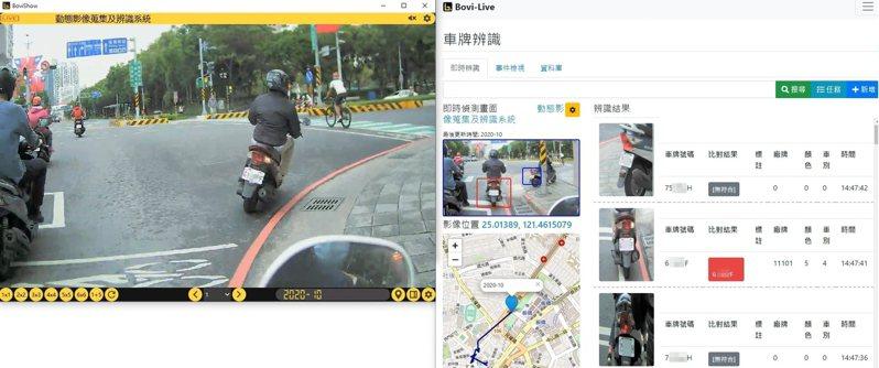 若發現贓車或高風險車輛,「警蜂動態影像蒐集及辨識系統1.0」會自動辨識,並以語音方式通知員警。圖/博遠科技提供