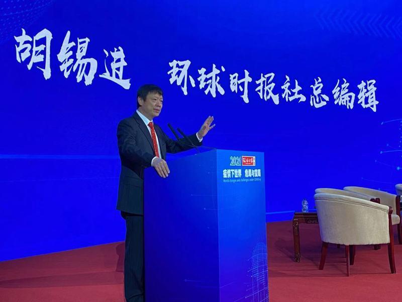 環球時報總編輯胡錫進在其年會上的致詞。特派記者陳言喬/攝影