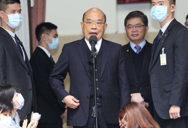 行政院長蘇貞昌上午在立法院受訪。 聯合報系記者曾學仁/攝影