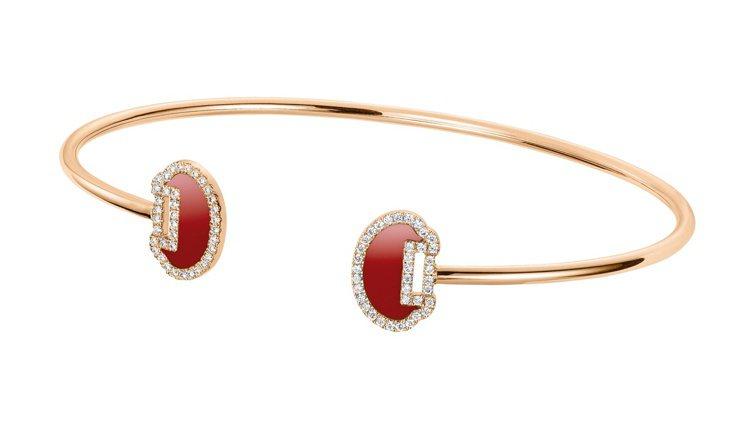 Qeelin Yu Yi系列18K玫瑰金鑽石紅瑪瑙手鐲,88,000元。圖 / ...