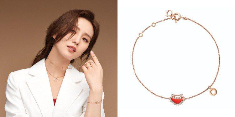 劉詩詩日前也曾配戴Qeelin的Yu yi系列玫瑰金珠寶,散發簡約都會氣息。圖 ...