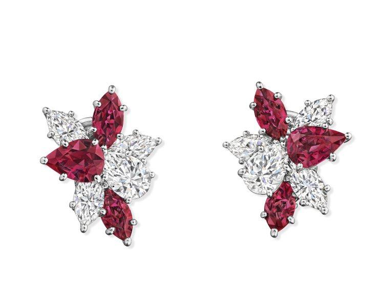 海瑞溫斯頓Winston Cluster系列紅寶石鑽石耳環同時結合兩種不同切割的...