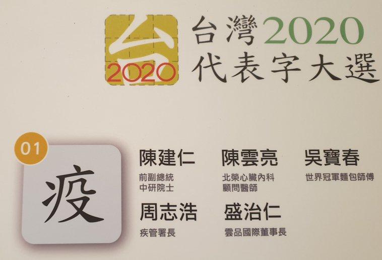台灣2020代表字是「疫」。記者陳宛茜/攝影