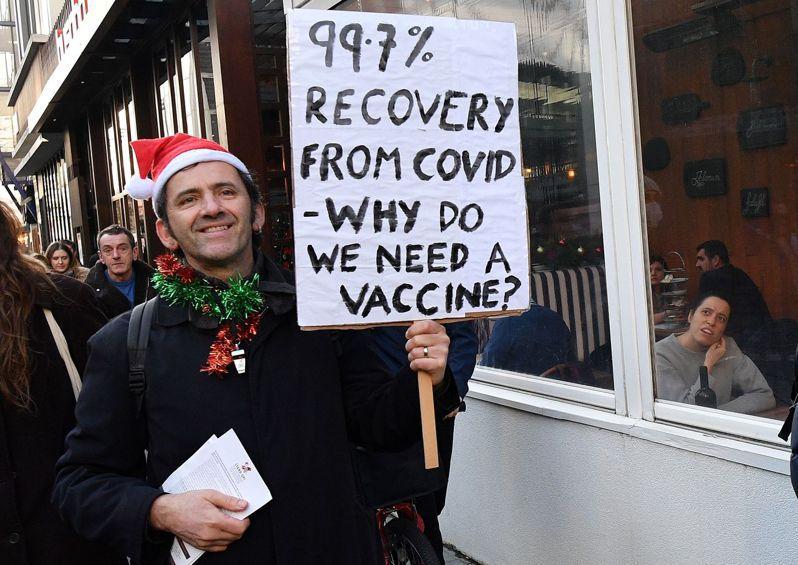 抗拒接種疫苗,在歐美國家不是新鮮事。圖為英國反疫苗民眾5日在倫敦發起示威,標語牌上寫著,「99.7%新冠患者會痊癒,我們為何需要疫苗?」法新社