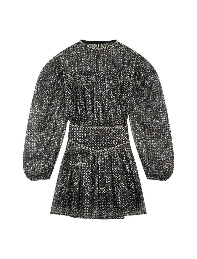 BLACKPINK Rose款式maje亮片公主袖洋裝,15,070元。圖/ma...