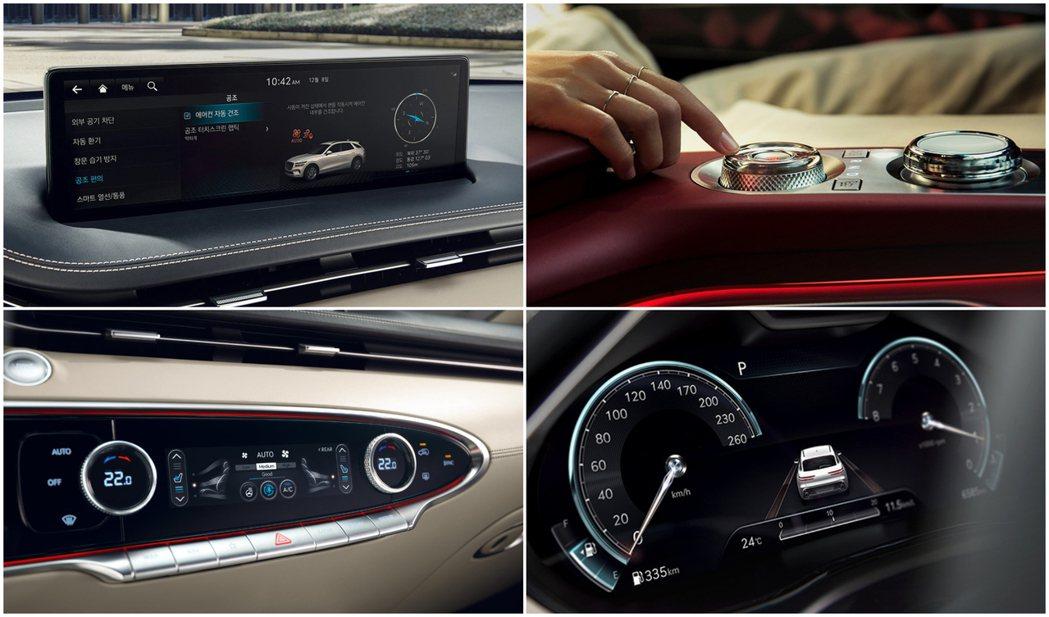 全新Genesis GV70配置12.3吋3D裸視數位儀表,中控台則放置一具14...