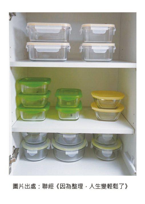 建議購買可清楚看到內容物的透明玻璃保鮮盒。 圖/摘自《因為整理,人生變輕鬆了》