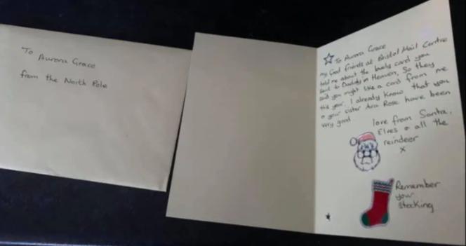 「圣诞老人」也寄给小姊妹一人一张手手写卡片。图/取自(photo:UDN)