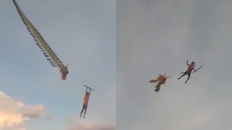 印尼一名12岁男童日前跟家人放风筝时,因风筝太过巨大,竟直接将他拉到近10公尺高的空中。Coconuts Jakarta(photo:UDN)