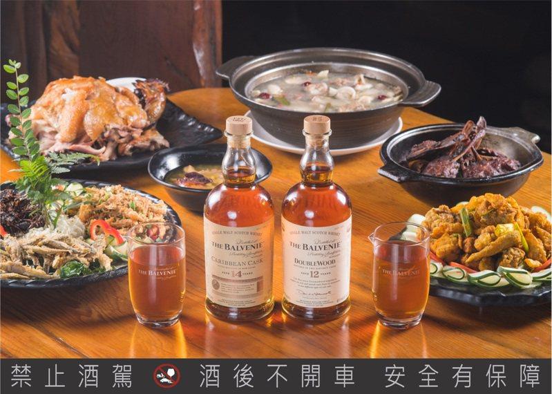 百富期間限定餐酒搭於台中城市部落。圖/格蘭父子提供。提醒您:禁止酒駕 飲酒過量有礙健康。