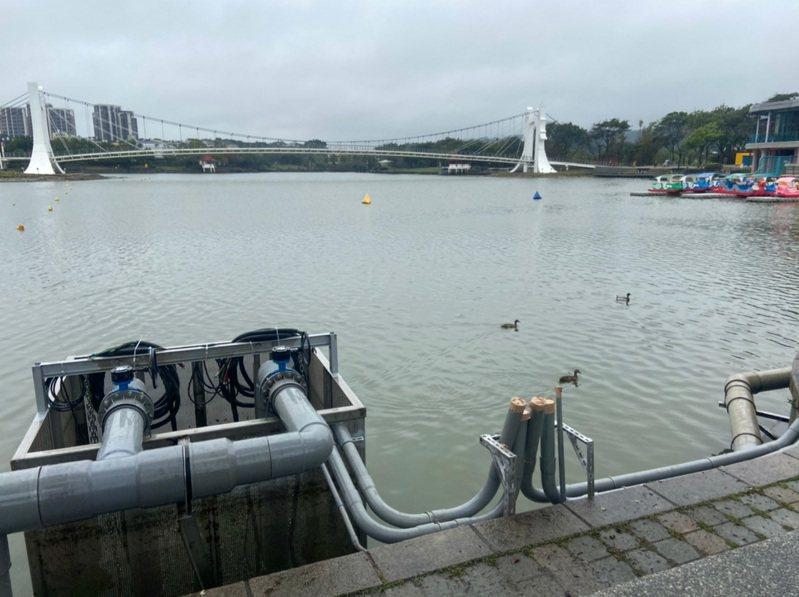 龍潭大池取水井工程並未放流過多的池水。圖/桃園市議員徐玉樹服務處提供