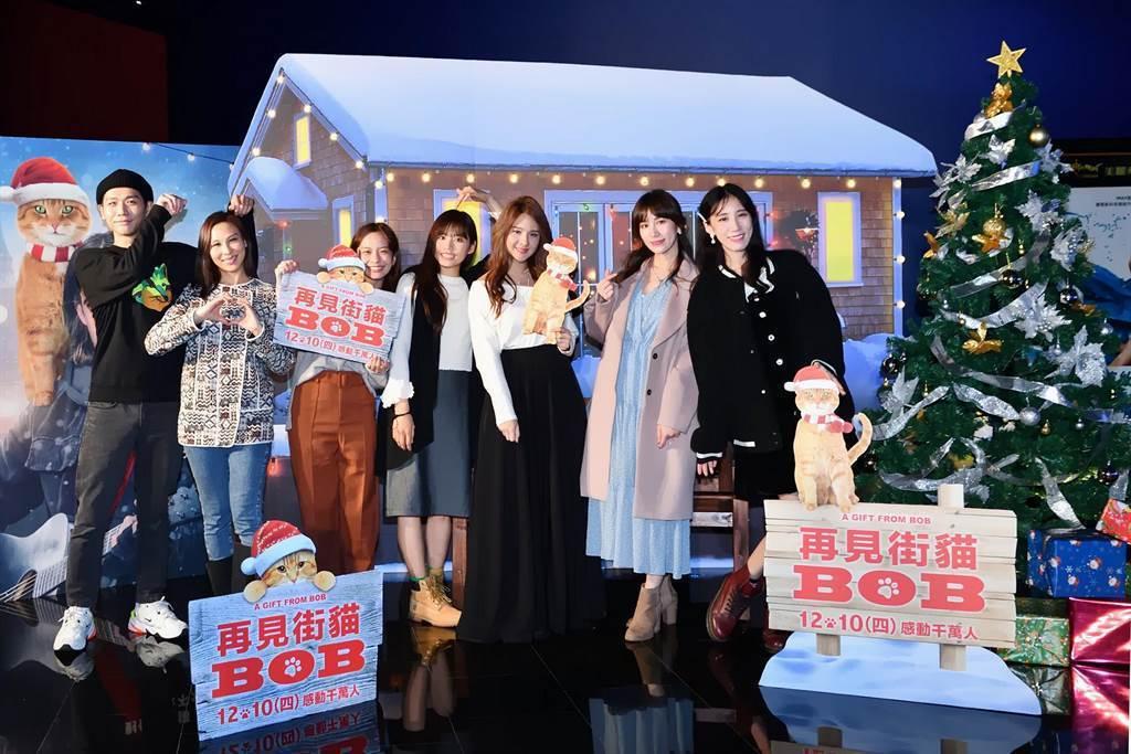 藝人蔡旻佑(左起)、林凡、葉星辰、吳汶芳、郭靜、瑤瑤、Apple出席本片星光首映