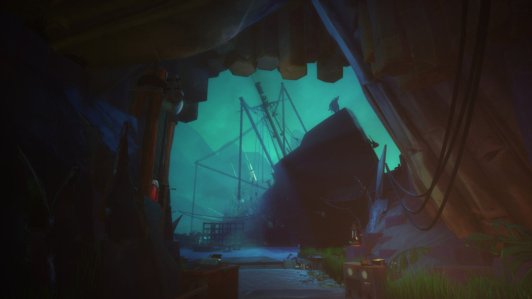 觸礁大型商船內傾斜的地板與儀器的聲響,還有雷雨的天候營造極端不安的心情