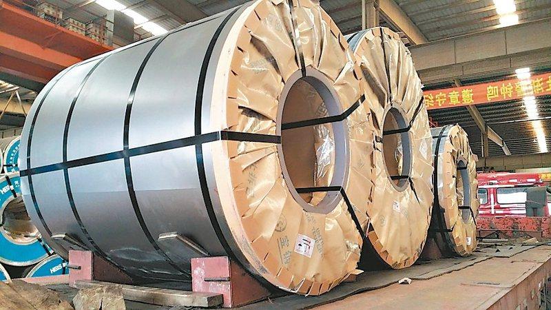 圖為大陸寶鋼廠內的鋼捲產品。(聯合報系資料庫)