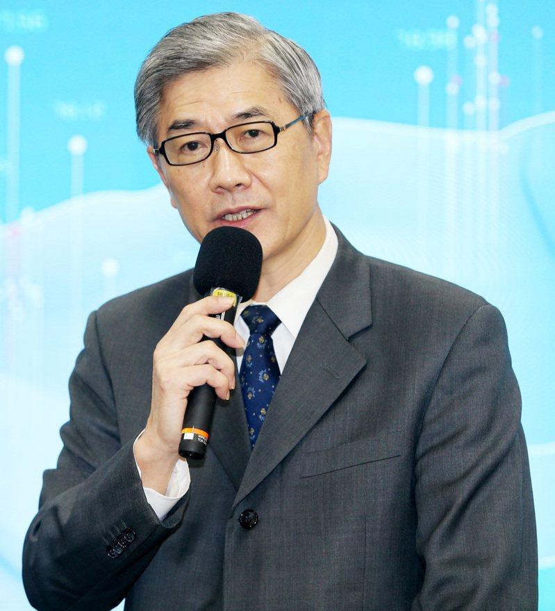金管會主委黃天牧上午出席台灣金融風險指數發布記者會。記者侯永全/攝影
