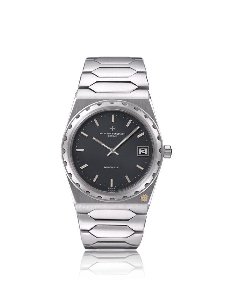 一體成型鍊帶的Ref.222「Jumbo」腕表,以藍色表面、37毫米尺寸,反映了...