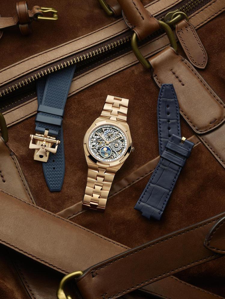 第三代納入表帶快拆系統,也讓腕表可一表三戴,展示不同風格印象。圖 / 江詩丹頓提...