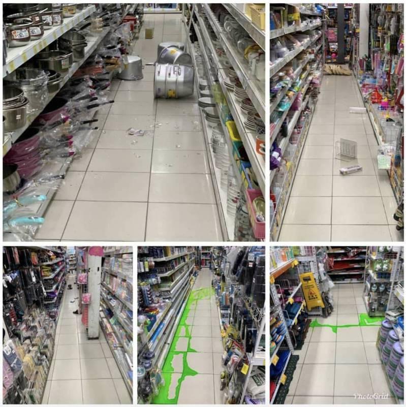 小北百貨商品掉落。圖/擷取自臉書爆料公社