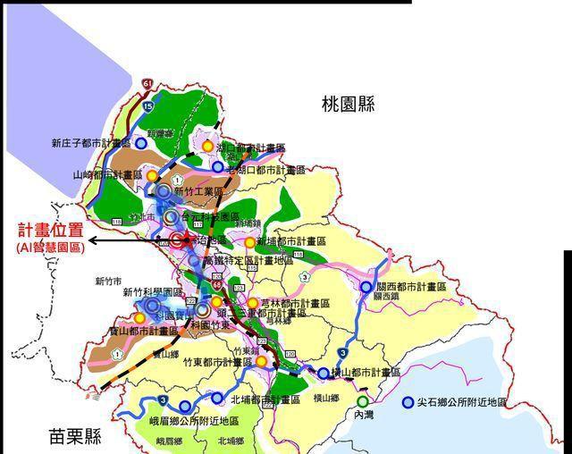 新竹縣產業發展廊帶示意圖。 工業局/提供