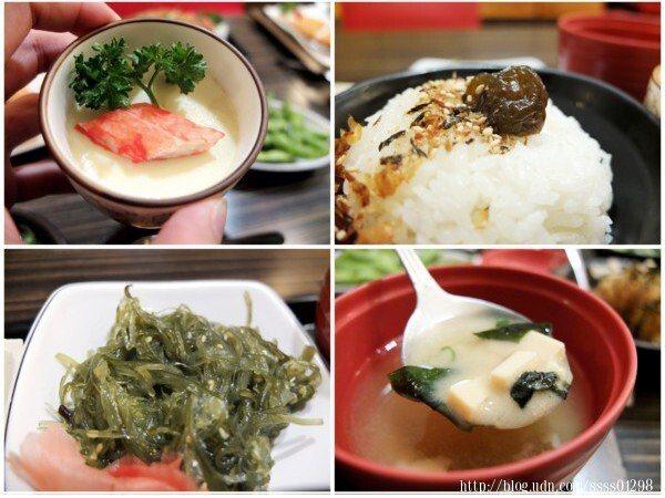 確實很像日式定食的感覺,從主食、白飯、配菜到湯品都有,搭配十分完整