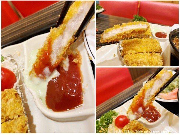 炸豬排有番茄醬和芥末醬兩種選擇,以及番茄、芥末醬加在一起的綜合調醬